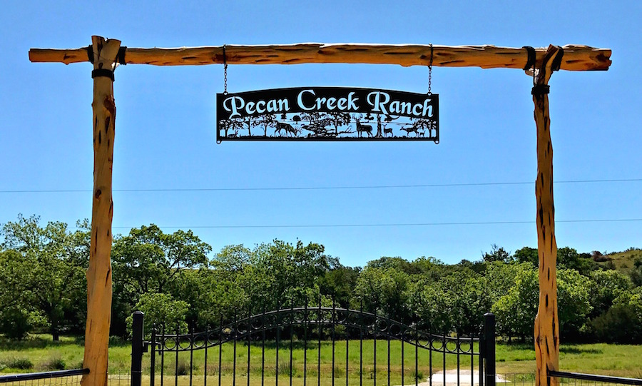 Sign for Pecan Creek Ranch, Texas
