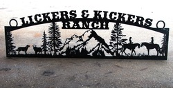 Lickers & Kickers Ranch Sign