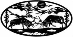 Elk Fighting Oval 2